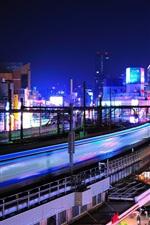 iPhone обои Уэно, Токио, вокзал, город, ночь, здания, огни, Япония