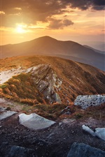 Preview iPhone wallpaper Ukraine, Carpathians, mountains, clouds, sunset
