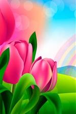 Design vetorial, tulipas cor de rosa, arco-íris