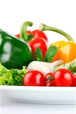 Preview iPhone wallpaper Vegetables, pepper, tomatoes, broccoli, garlic, white background