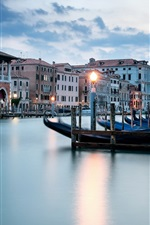 Preview iPhone wallpaper Venice, river, boats, houses, lights, dusk