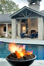 Preview iPhone wallpaper Villa, swim pool, fire