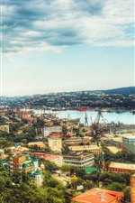 Preview iPhone wallpaper Vladivostok, Russia, piers, ships, city, sea, clouds