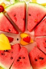 Preview iPhone wallpaper Watermelon slice, banana, mango, fruit