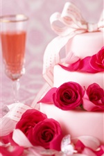 Preview iPhone wallpaper White cake, roses, wine