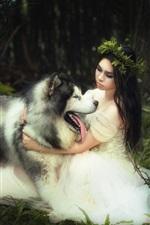 White skirt bride and dog