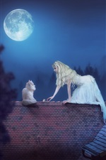 Preview iPhone wallpaper White skirt girl and cat, roof, moon, night, creative picture