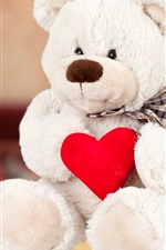 Preview iPhone wallpaper White teddy bear, red love heart