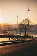 Windmühlen, Straße, Sonnenuntergang