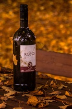 Preview iPhone wallpaper Wine, bottle, bench, leaves, autumn