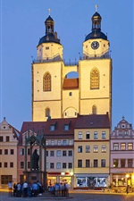 Preview iPhone wallpaper Wittenberg, old town hall, church, evening, market square, Germany