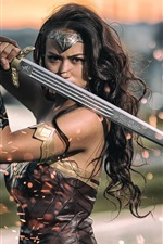 Preview iPhone wallpaper Wonder Woman, sword, sparks