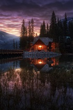 Preview iPhone wallpaper Yoho National Park, Canada, Emerald Lake, trees, house, night, lights