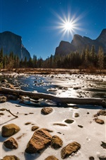 Preview iPhone wallpaper Yosemite National Park, USA, snow, stones, river, trees, sunshine, winter