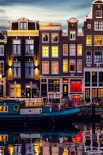 Preview iPhone wallpaper Amsterdam, Netherlands, beautiful night, river, houses, lights