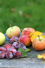 Preview iPhone wallpaper Apples and plums, fruit