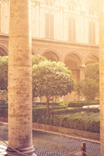 Preview iPhone wallpaper Architecture, hall, stone columns, sun rays
