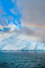 Arctic, rainbow, iceberg, sea