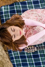 Preview iPhone wallpaper Asian girl, dream, guitar