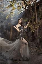 Preview iPhone wallpaper Asian girl, pose, skirt, trees, fog, sun rays