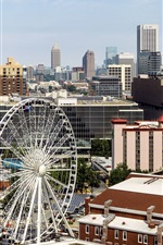 Preview iPhone wallpaper Atlanta, USA, downtown, buildings, ferris wheel