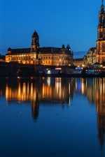 iPhone обои Август мост, Германия, Дрезден, река, здания, ночь, огни