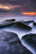 Preview iPhone wallpaper Babadan Beach, Bali, Indonesia, sea, rocks, sunset