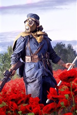 Preview iPhone wallpaper Battlefield 1, EA games, soldier, rifle, red poppies