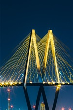 Preview iPhone wallpaper Baytown, bridge, lights, night, USA