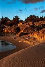 Praia, mar, costa, casa, pedras, crepúsculo