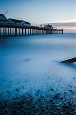 Preview iPhone wallpaper Beach, sea, coast, pier, dawn