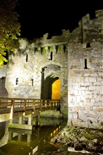 Preview iPhone wallpaper Beaumaris Castle, fortress, stones, night, North Wales, UK