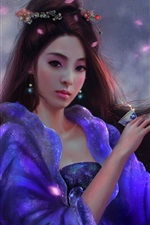 Preview iPhone wallpaper Beautiful Chinese girl, retro, long hair, art picture