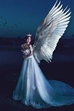 iPhone обои Красивая девушка-ангелочек, крылья, ночь, луна