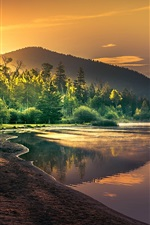 Preview iPhone wallpaper Beautiful nature landscape, lake, trees, sun rays, dawn