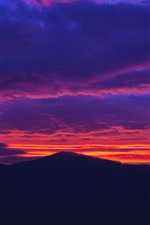 Preview iPhone wallpaper Beautiful sunset, red sky, clouds, mountains
