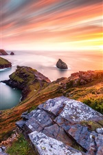 Preview iPhone wallpaper Beautiful sunset sea, slope, grass, stones