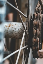 Bike wheel and chain, rusty