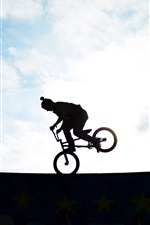 Preview iPhone wallpaper Biker, silhouette, extreme sport