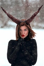 Preview iPhone wallpaper Black dress girl, horns, snowy