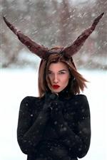 Black dress girl, horns, snowy