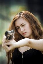 Preview iPhone wallpaper Black skirt Asian girl use gun