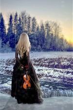 Preview iPhone wallpaper Blonde girl back view, winter, snow, violin