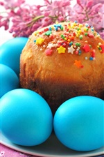 Preview iPhone wallpaper Blue Easter eggs, cake, flowers