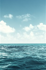 Preview iPhone wallpaper Blue sea, waves, clouds