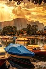 Boats, dock, clouds, trees, sun rays