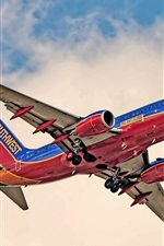Preview iPhone wallpaper Boeing 737 airplane flight, bottom view