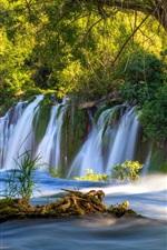 Preview iPhone wallpaper Bosnia and Herzegovina, Kravice Falls, waterfall, trees