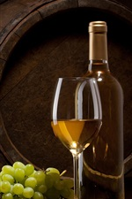 Preview iPhone wallpaper Bottle, glass cup, grape, wine, barrel