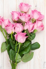 Preview iPhone wallpaper Bouquet, pink flowers, roses, wood background